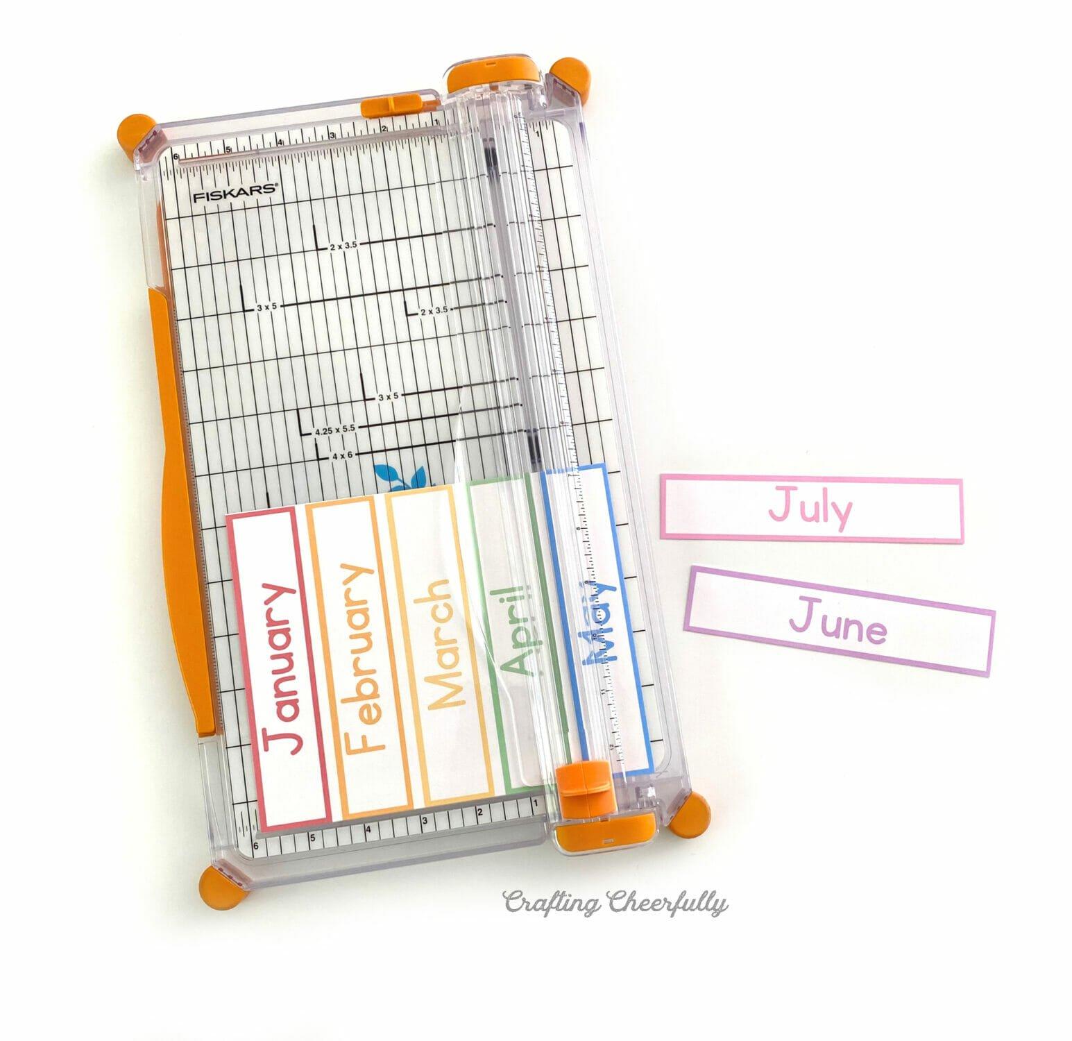 Paper trimmer cutting calendar pieces