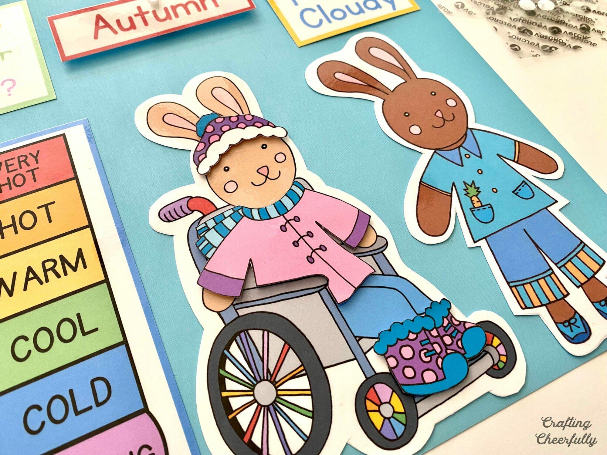Weather bunnies for Preschool Morning Calendar Board