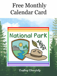 Free Monthly Calendar Card National Park