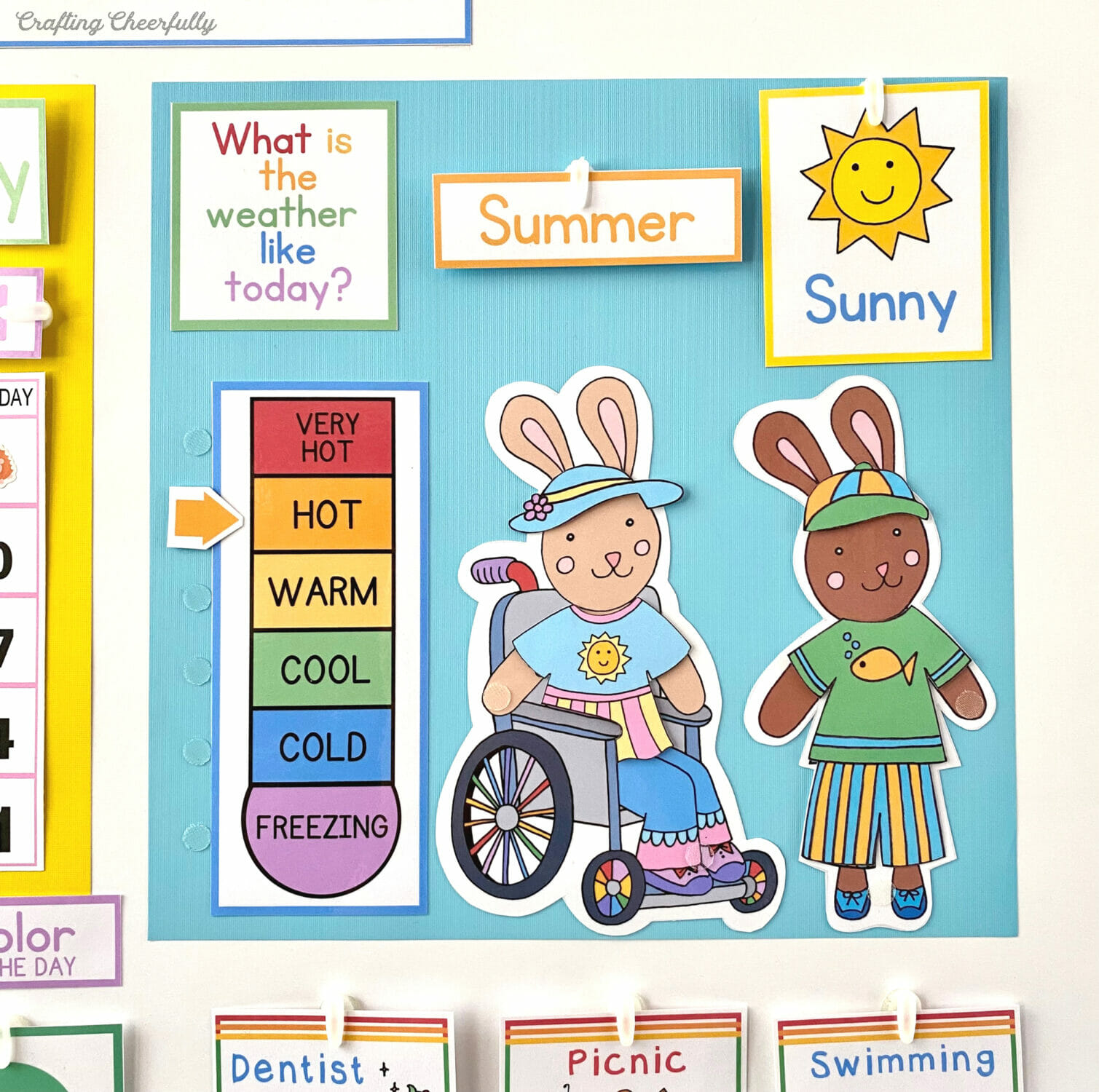 Preschool morning board featuring bunnies dressed for the weather.