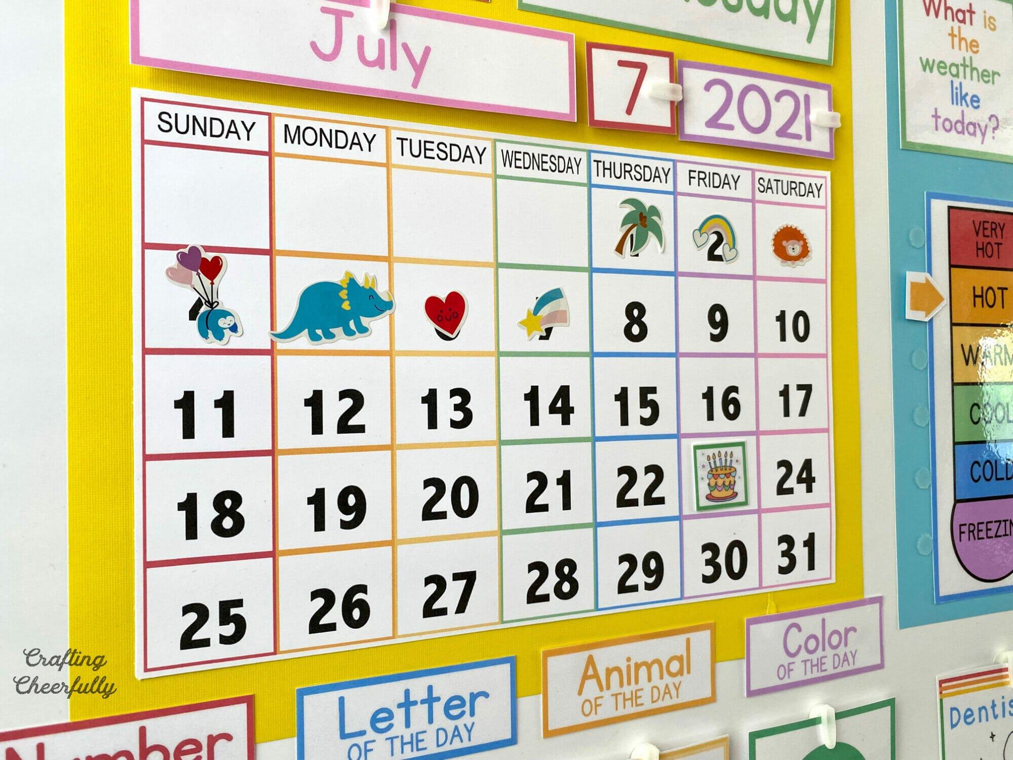 Printable calendar for Morning Board