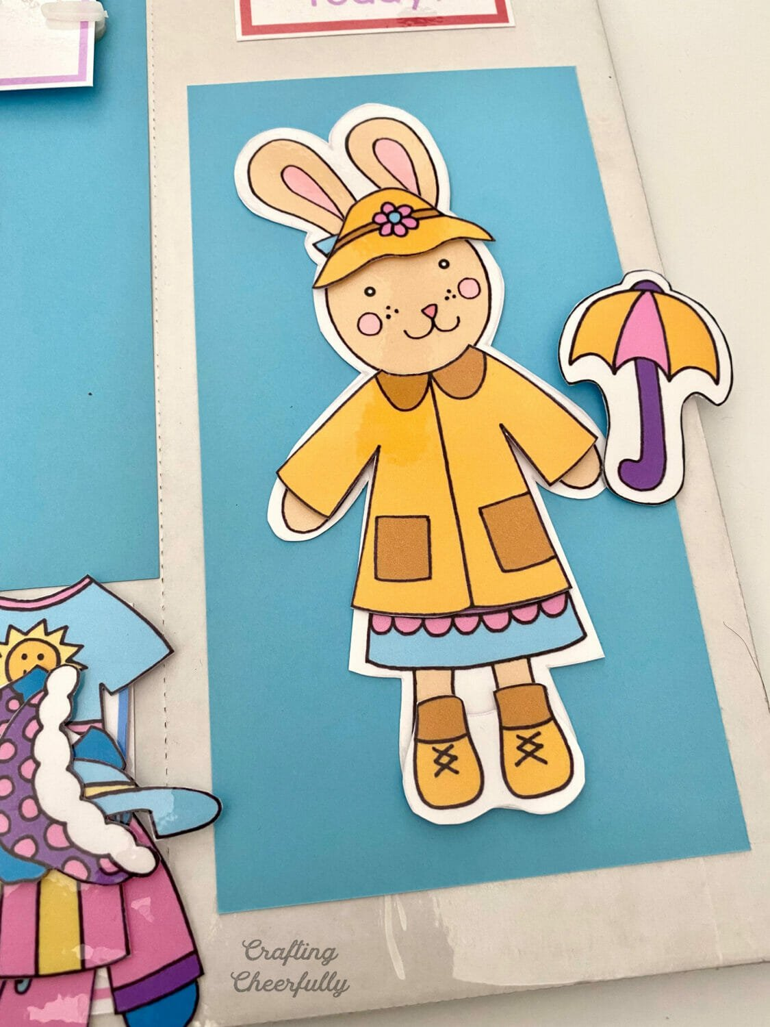 Weather bunny dressed in a raincoat.