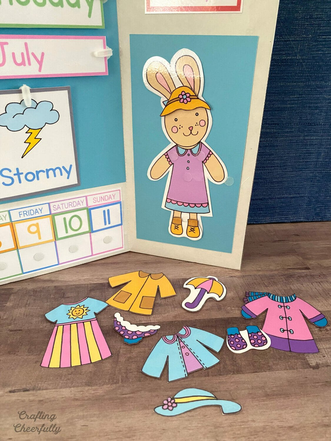 Weather bunny on a weather calendar trifold board.