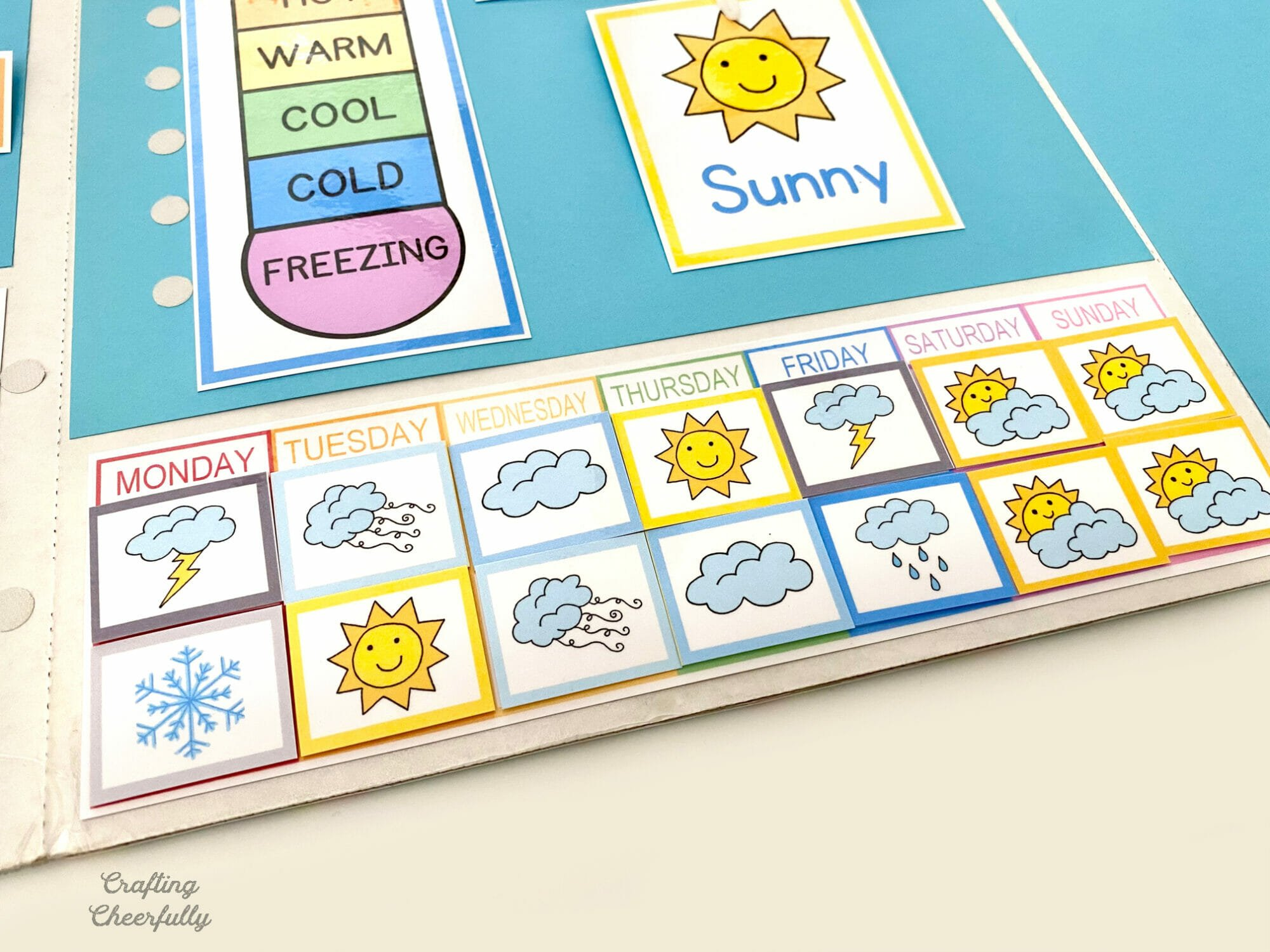 DIY Weather Calendar with lots of small weather cards for each day of the week.