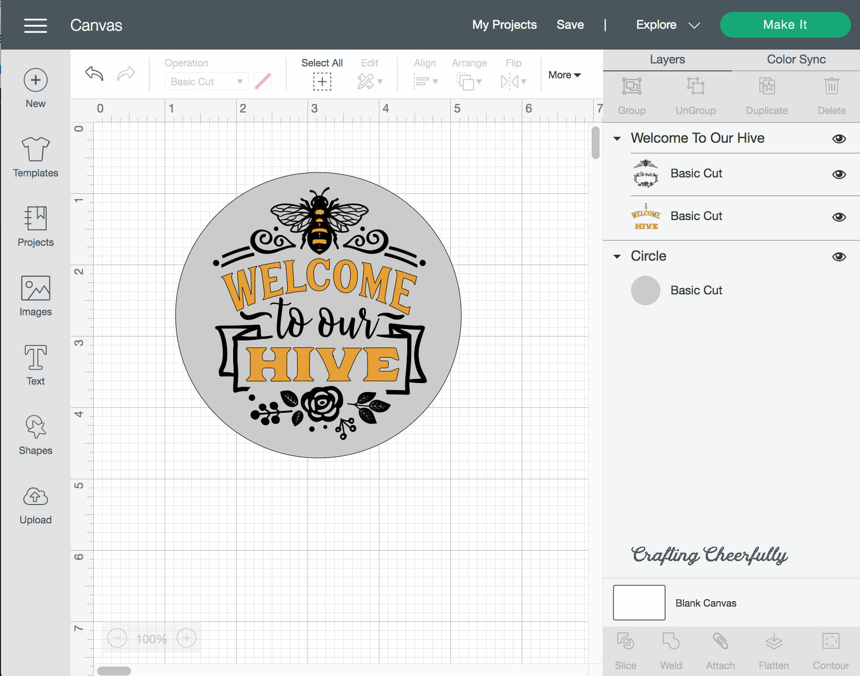 Welcome to our Hive image in Cricut Design Space