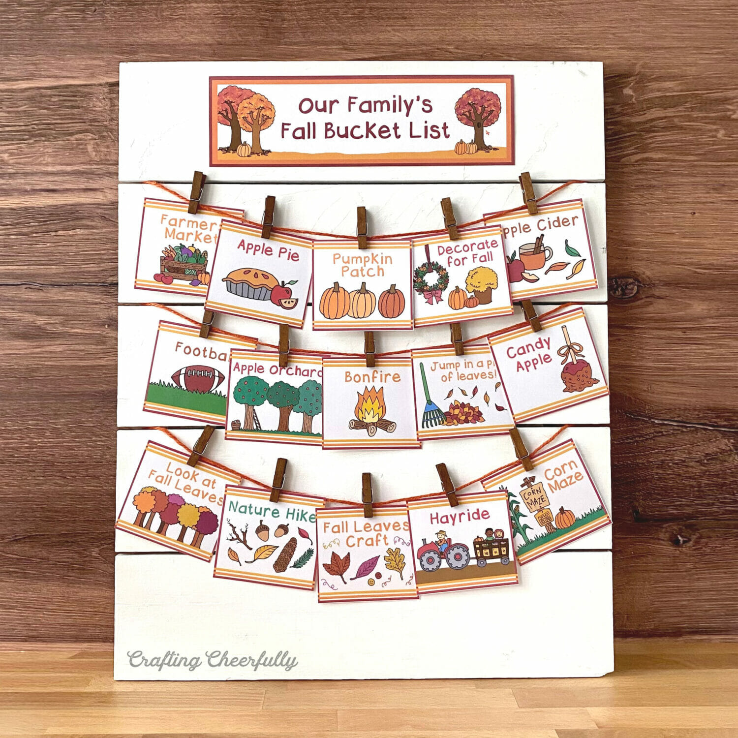 DIY Fall Bucket List Sign for Families