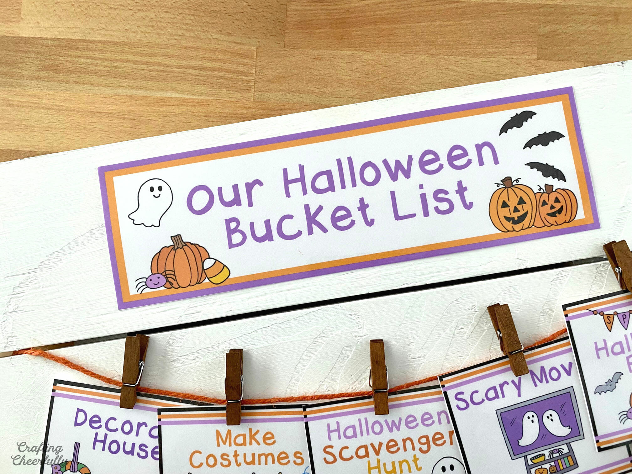 """A close up picture of the header label on the sign that reads """"Our Halloween Bucket List""""."""