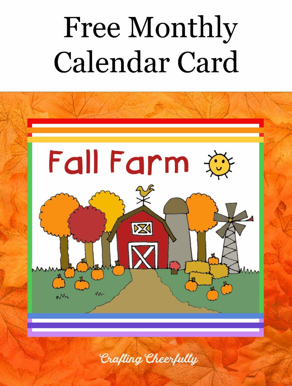 Free Monthly Calendar Card is Fall Farm.