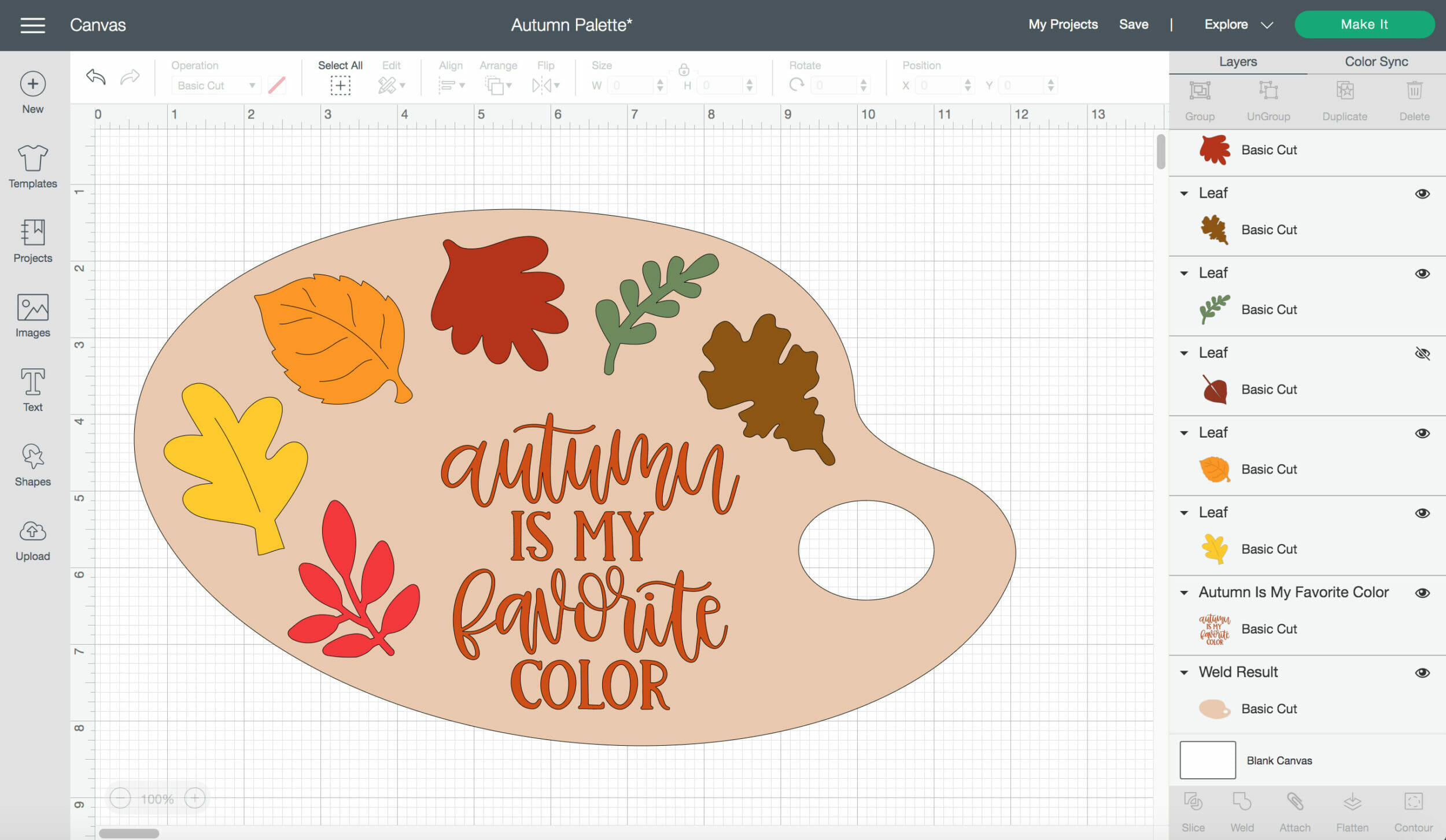 Cricut Design Space for making the fall palette sign.